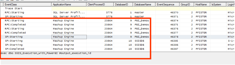 Trace in SQL Profiler