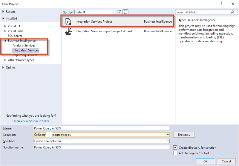 Creating an SSIS Package