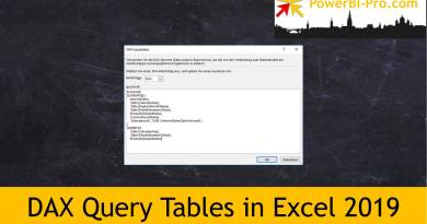 DAX Query Tables in Excel 2019