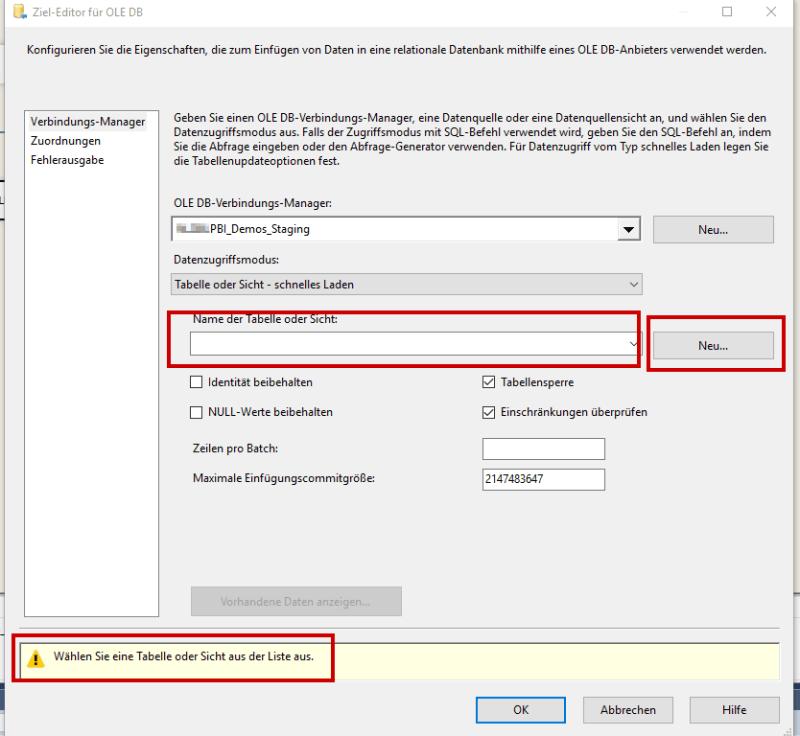 fehlende SQL Tabelle erstellen