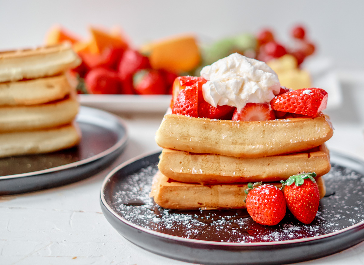 waffle stack with strawberries