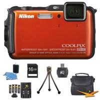 Nikon COOLPIX AW120 16MP Waterproof Shockproof Freezeproof Orange Digital Camera Kit