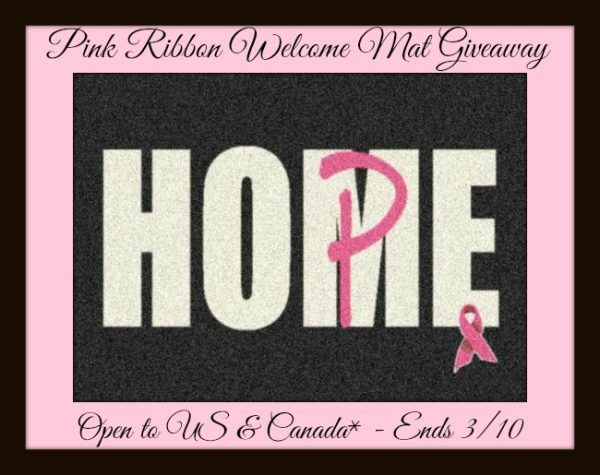 Pink ribbon welcome mat button March