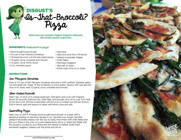 Inside out Disgust's Broccoli Pizza