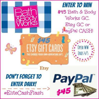 $45 Bath & Body Works, Etsy or PayPal Flash Giveaway
