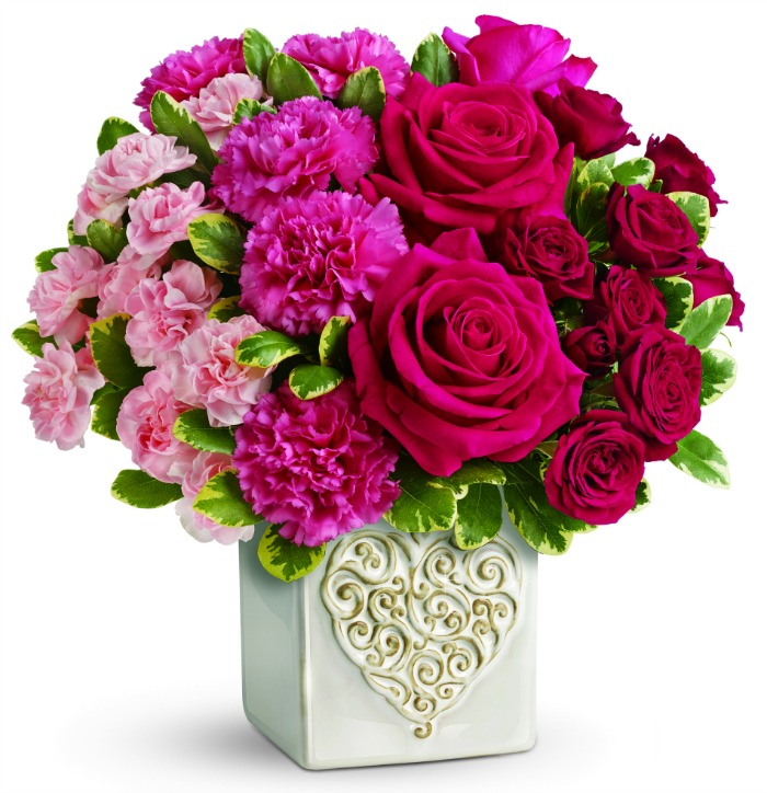 teleflora swirling heart bouquet