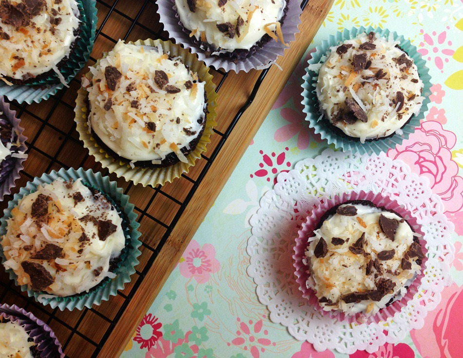 Coconut Chocolate Cupcakes with Cream Cheese Frosting Recipe