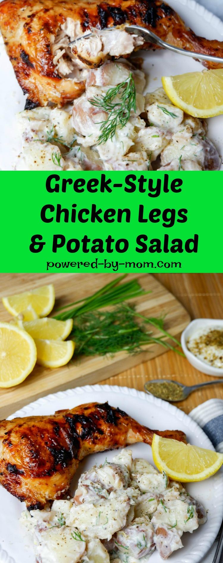 Greek-Style Chicken Legs and Potato Salad Recipe