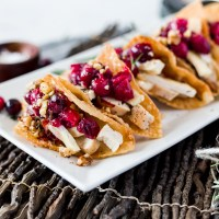 Cranberry Brie Chicken Wonton Tacos Recipe