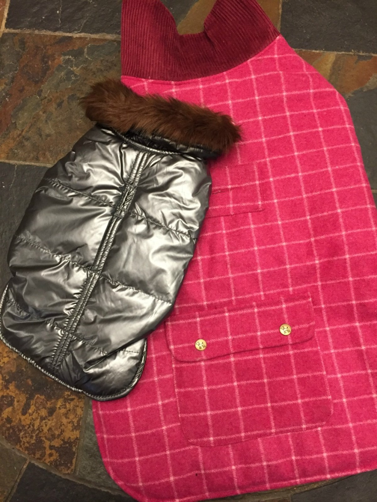 Up Country,silver aspen puffer coat, pink tweed coat