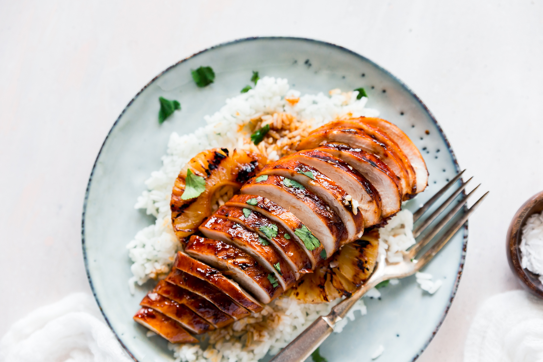 Hawaiian barbecue Chicken with pineapple on rice is a yummy meal