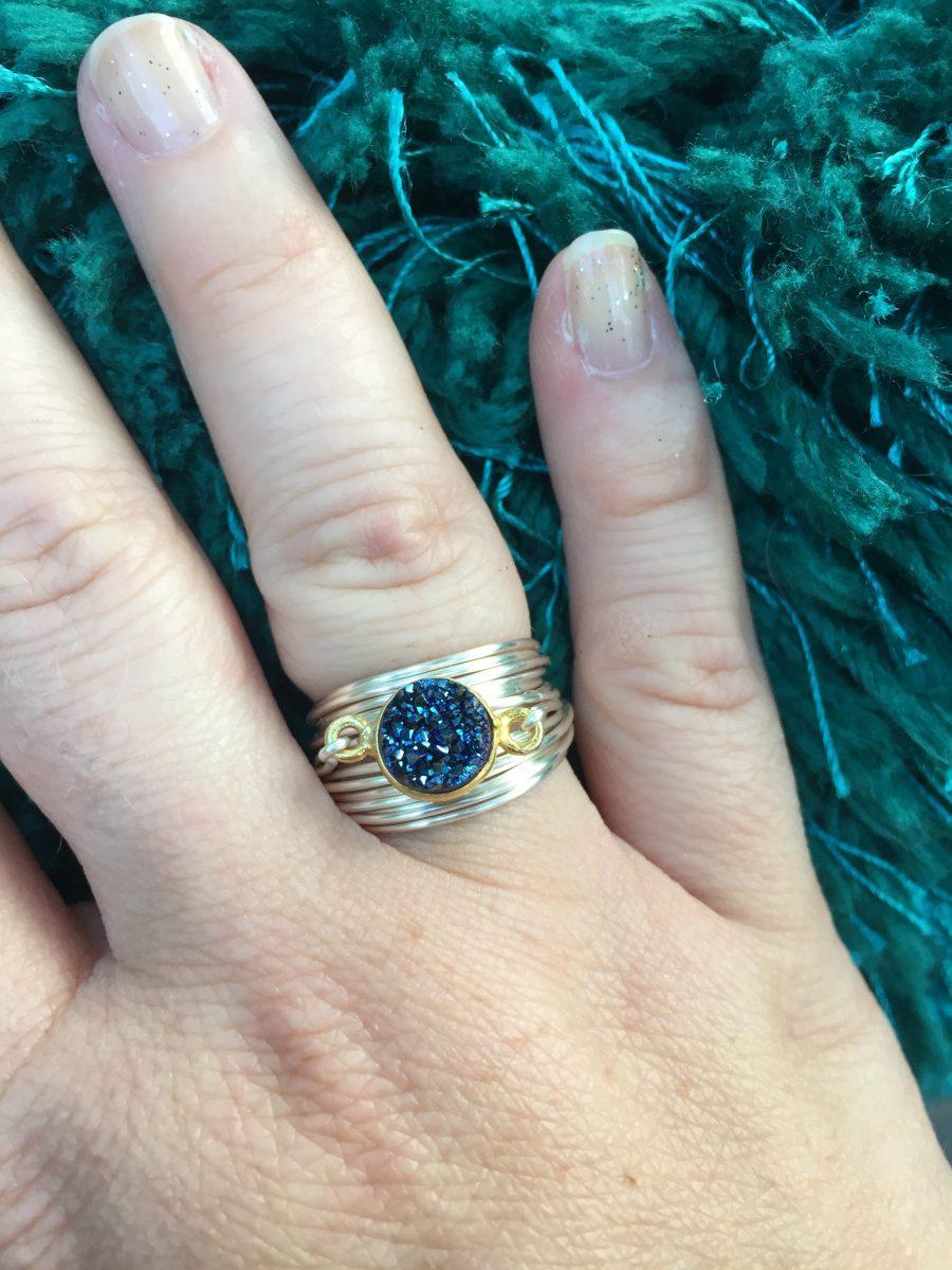 torrey ring in blue druzy, elegant rings