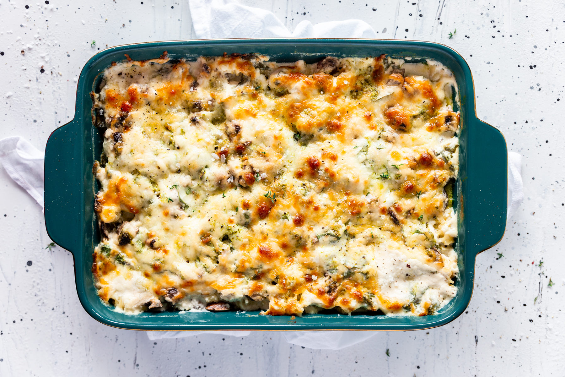 Three Cheese Pesto Chicken Pasta Bake Recipe