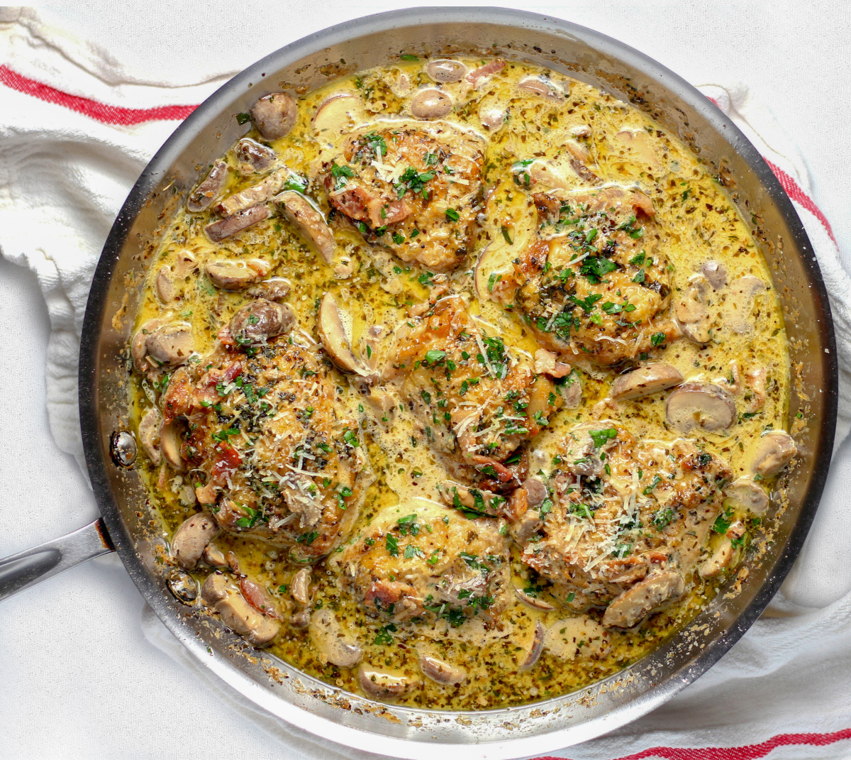 Chicken recipe, chicken, chicken parmesan, Parmesan Cream Sauce Chicken, Bacon and Mushroom Skillet