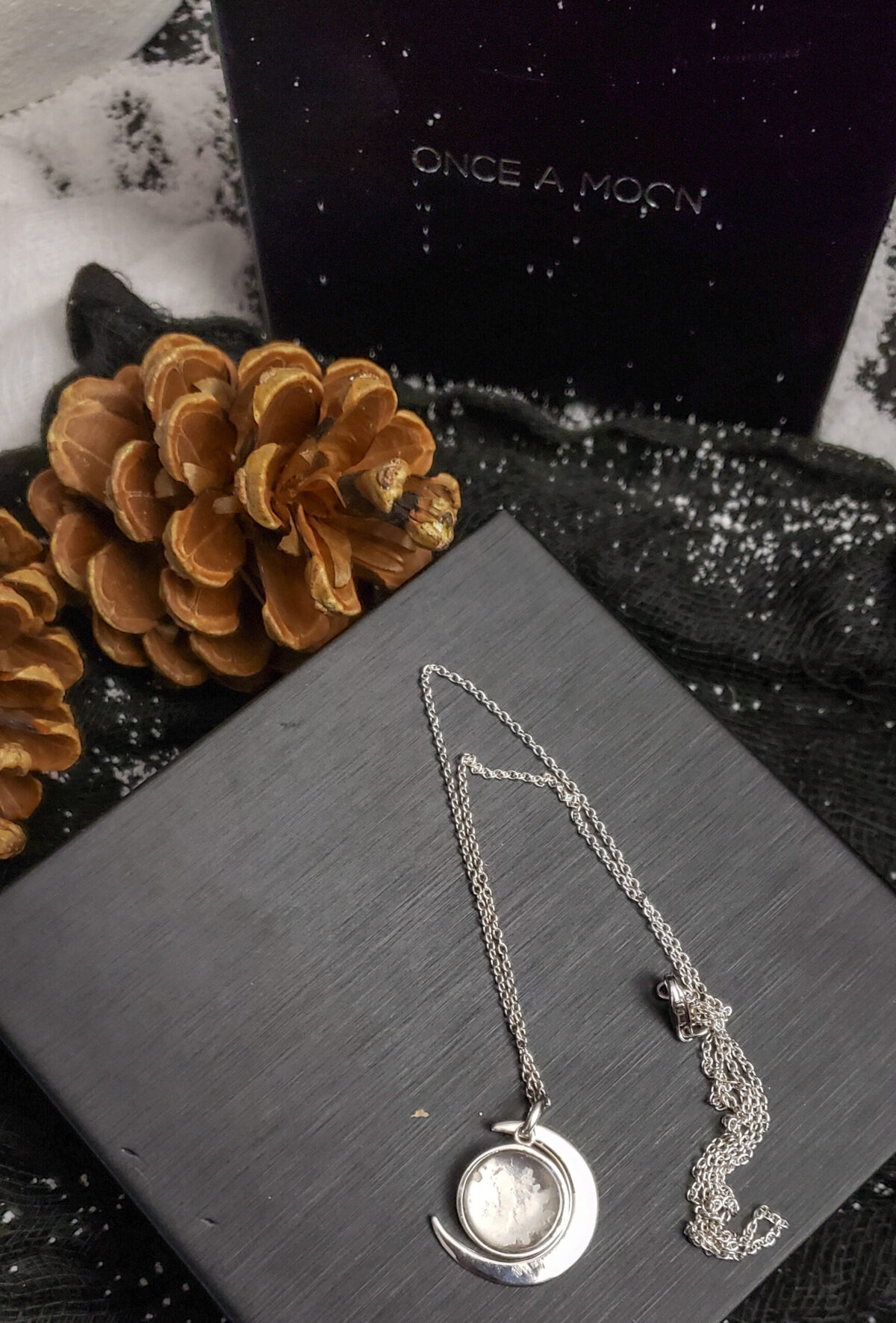 sterling silver once a moon necklace