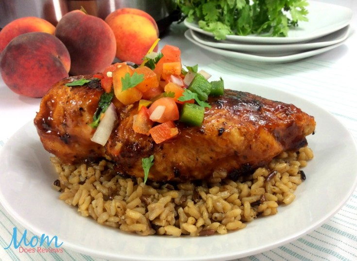 Instant Pot Peach Chicken with Peach BBQ Sauce and Salsa