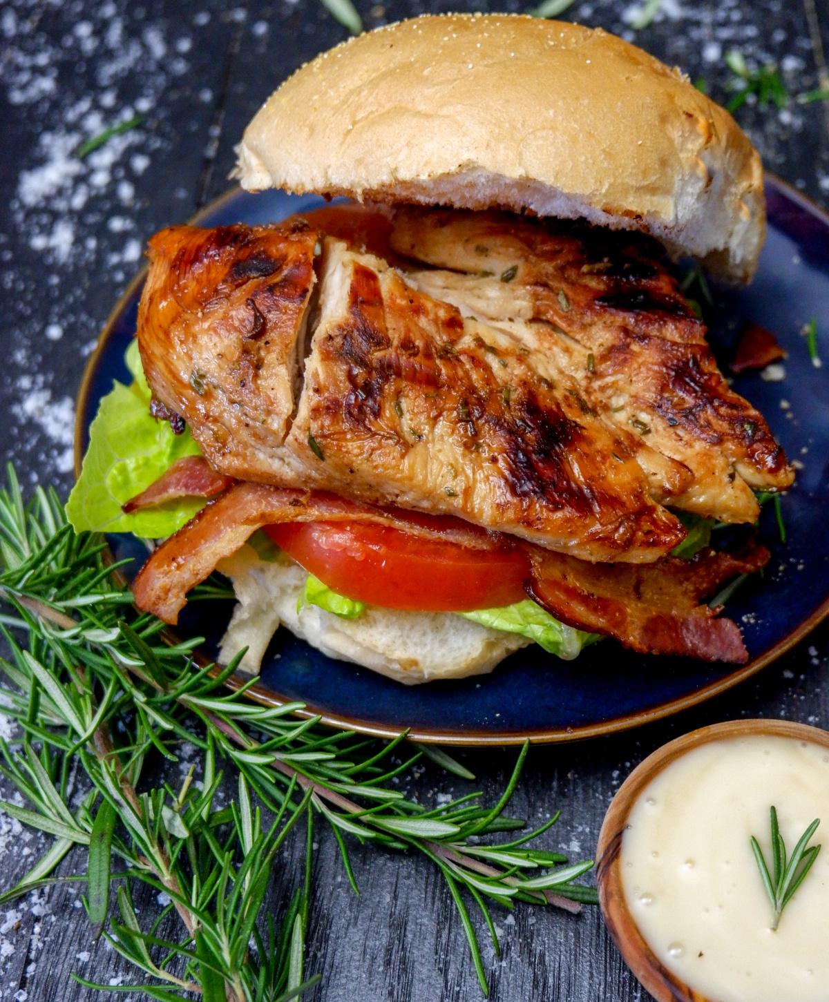 Maple Rosemary & Garlic Herb Grilled Chicken breast on a kaiser bun