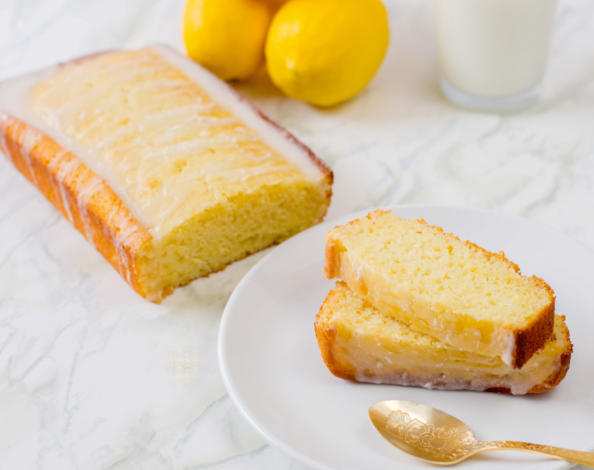 lemon loaf and slices with glaze