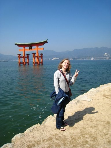 In Japan at the Tori gate in miyajima on my rtw trip