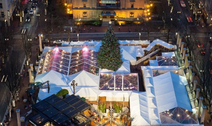 Portland Holiday Ale Fest at night at Pioneer Courthouse Square