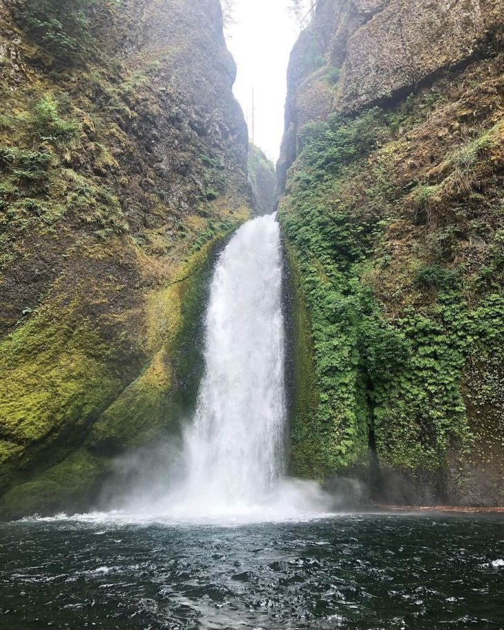 Wahclella Falls plunge waterfall