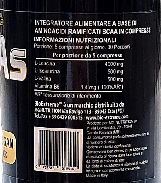 BCAAs 8 1 1 Fermented 150 cps foto Tabella