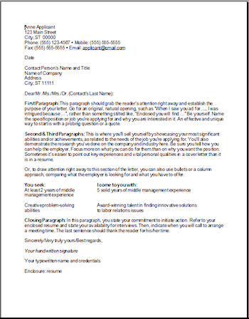 first example of a cover letter  cover letter for job application