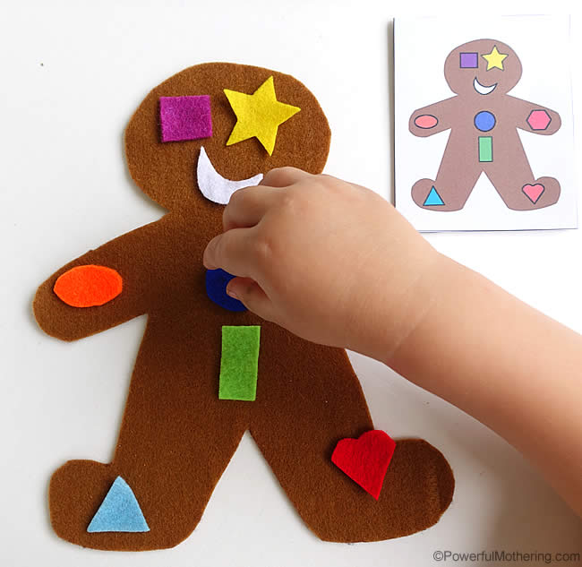 Gingerbread Man Shape Matching Busy Bag