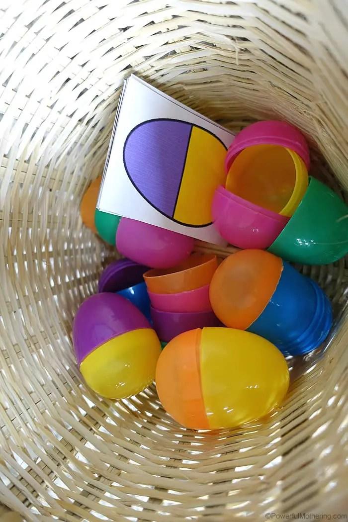 Plastic Eggs Color Sorting Printable