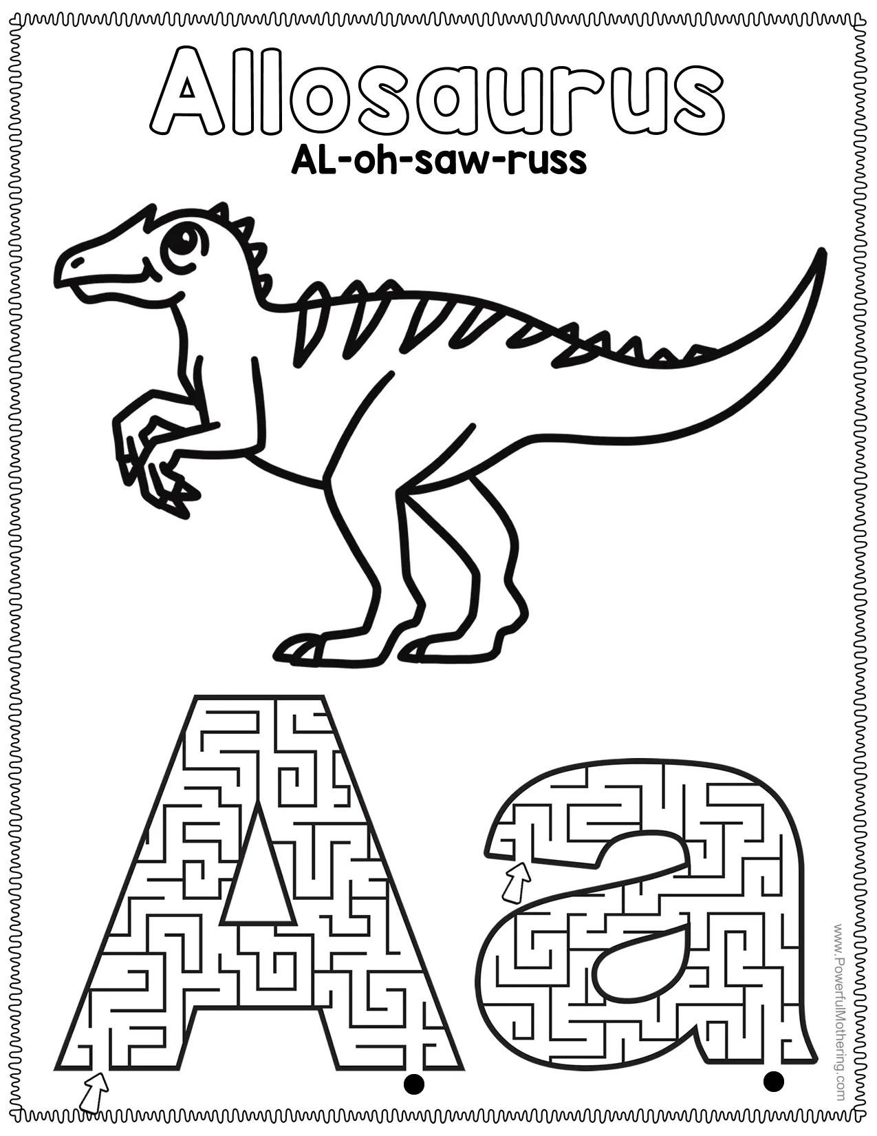 Dinosaur Alphabet Mazes