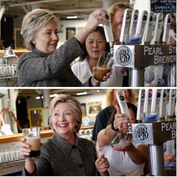 Turns out she doesn't know how to pour beer either. (And to think I used to drink at Pearl Street Brewery.)