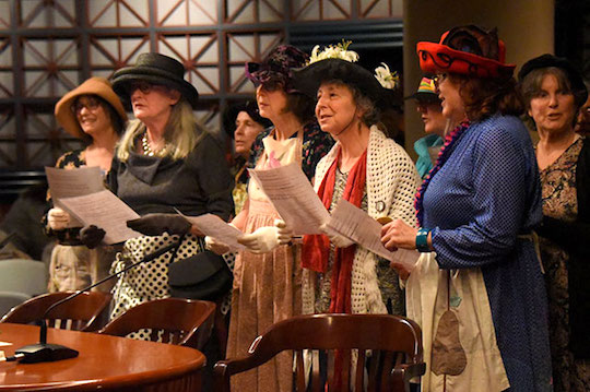 """An activist group called the """"Raging Grannies"""" testifies in harmony before Portland's City Council"""
