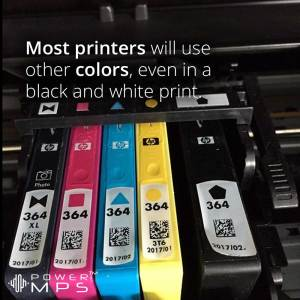 Most printers will use other colors, even in a black and white print.