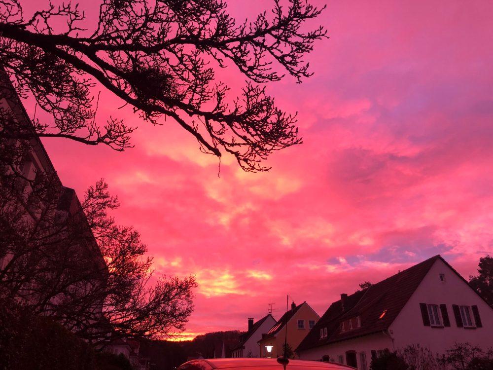 Pink strahlender Himmel, vom kräftigen Sonnenaufgang gefärbt