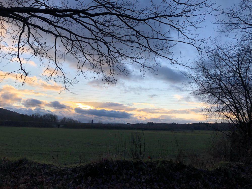 Blick auf die untergehende Sonne hinter dem Feld