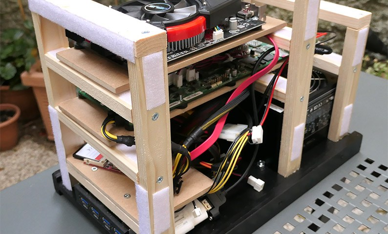 Interior of the T2080rdb wooden desktop case