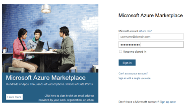Azure Marketplace Logon