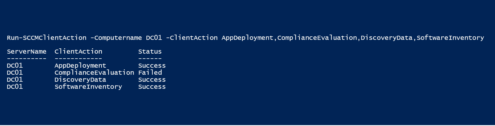 Run SCCM client actions on remote machines using PowerShell