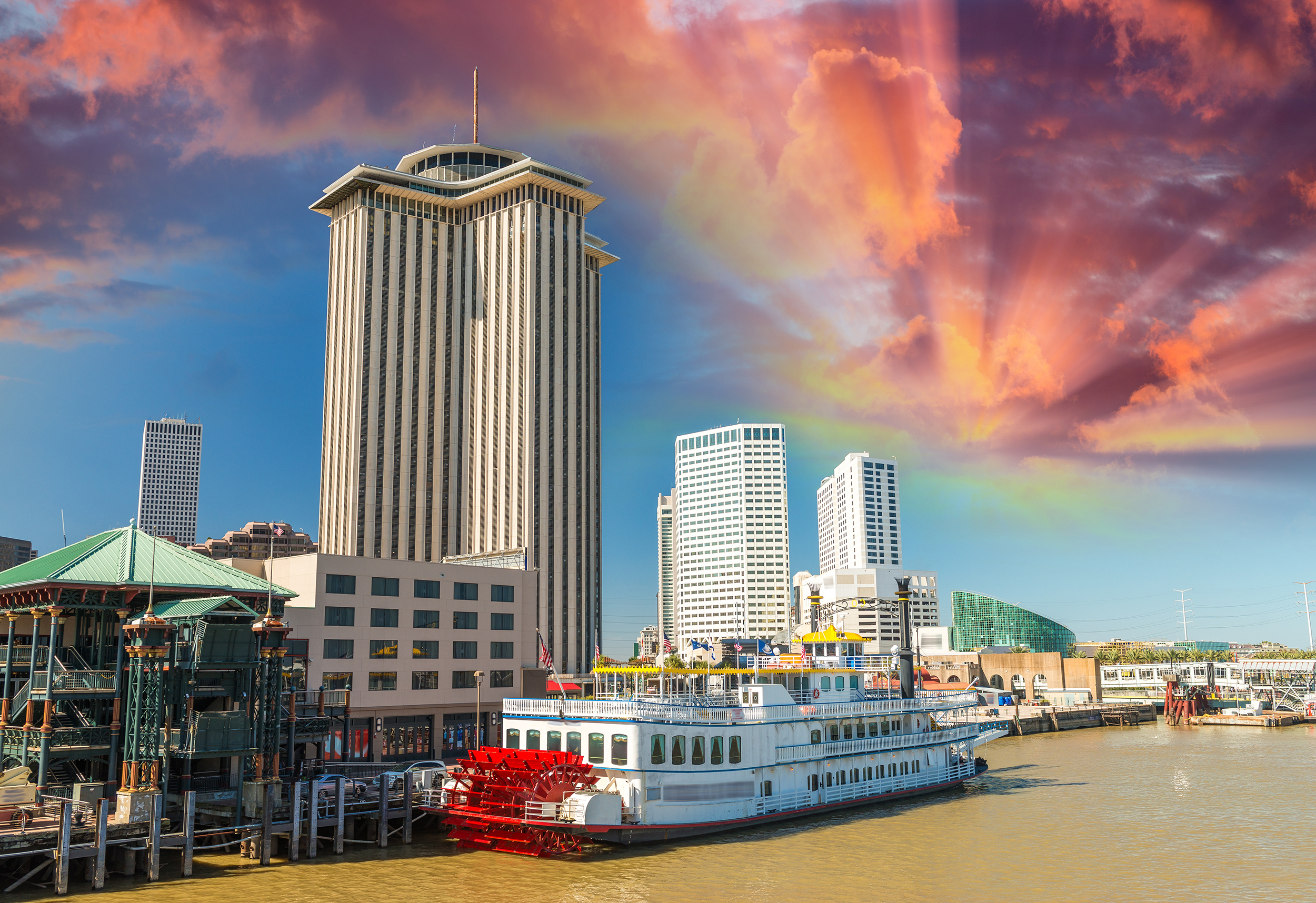 Steamboat on Mississippi river, New Orleans.