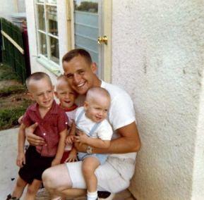 July 1966 SanAntonio TX – Hoff Family (L-R) Michael 3 ½, Bobbie 2 ½, Michael George Hoff, Charlie 16 Months