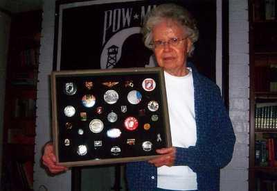 2010 Orange Park FL Mary Hoff Holding Shadow Box of POW/MIA Pins