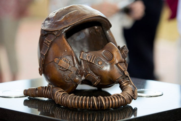 The memorial includes a bronze helmet similar to one that Scott Speicher would have worn as a pilot of the F/A-18 Hornet. A bronze flight jacket and aviator hat will be added later. (FSU Photography Services)