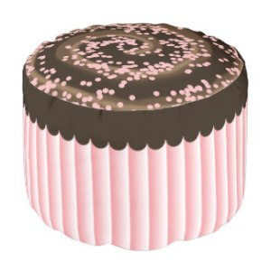 Chocolate Frosting Pink Sprinkles Round Pouf