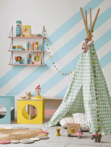 Wall paper and teepee enhances children's kids rooms