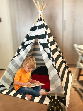 charcoal and white striped teepee
