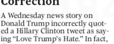 Canadian newspaper corrects itself on love, hatred and Trump