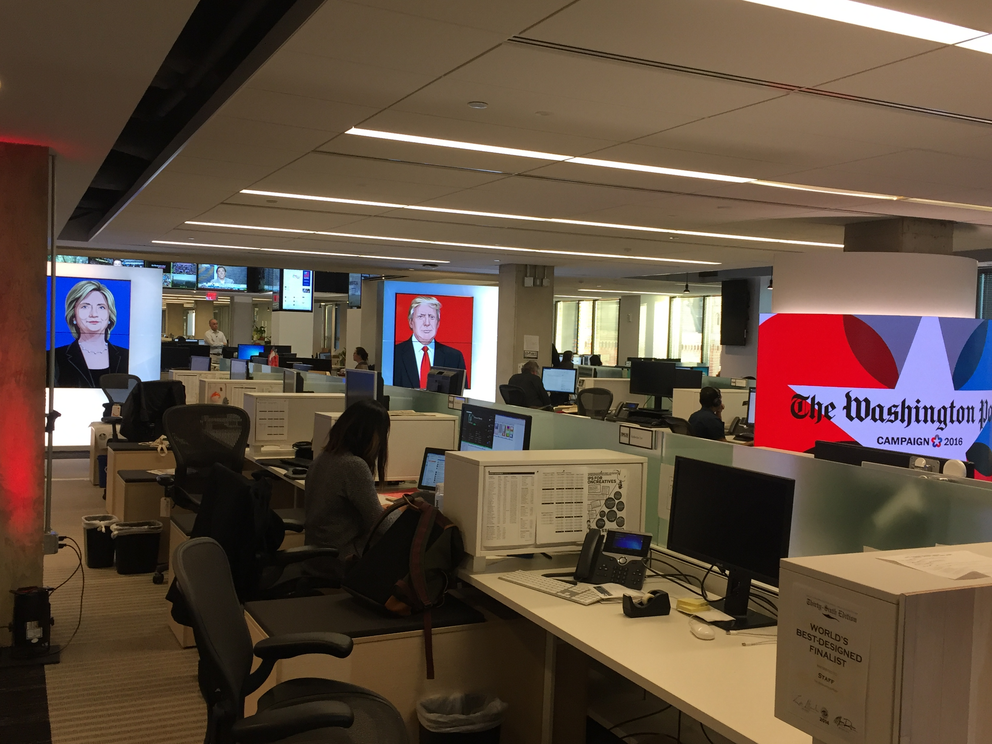 The view into The Washington Post's 7th floor newsroom the day before the election. (Photo by Kristen Hare/Poynter)