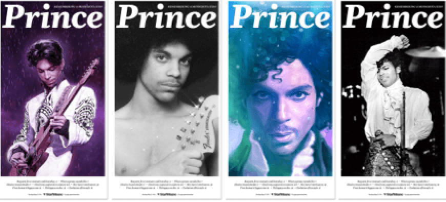 The Star Tribune's commemorative Prince front pages. (Images courtesy the Star Tribune)