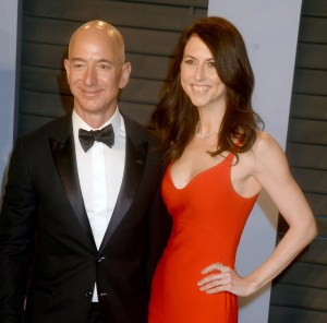 Amazon and Washington Post owner Jeff Bezos and wife, MacKenzie Bezos, in 2018 at an Oscar party in California. The pair have announced plans to divorce. (Photo by Dennis Van Tine/STAR MAX)