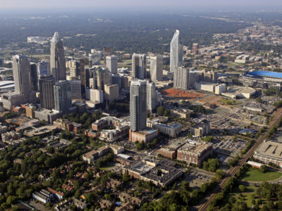 The skyline of downtown Charlotte, North Carolina in 2012. (AP Photo/Chuck Burton, file)